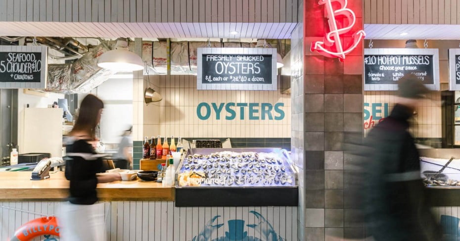 Oysters at the fish market, Wynyard Quarter, Auckland.