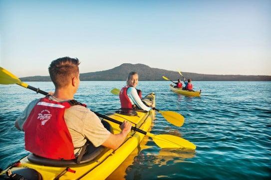 Kayaking to Rangitoto Island.