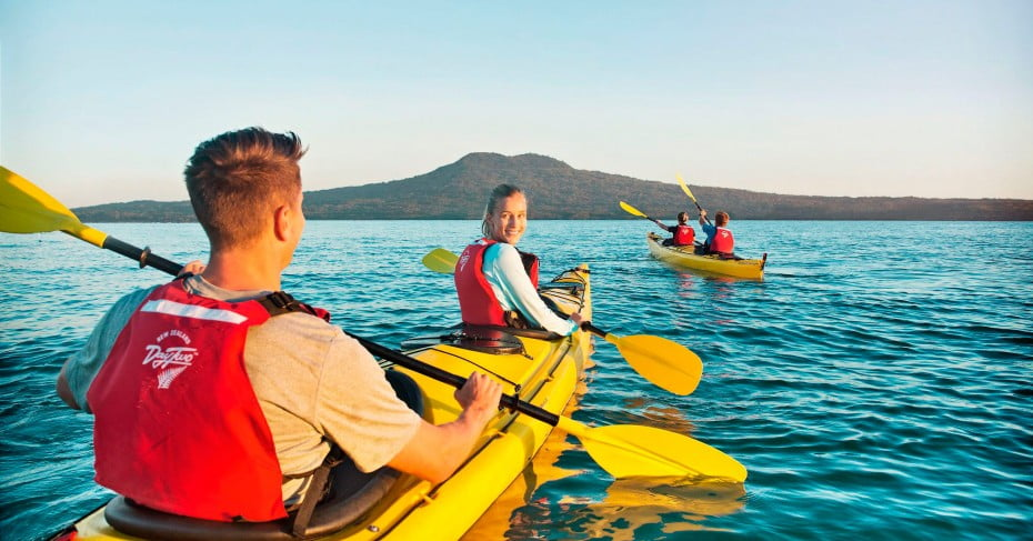Kayaking to Rangitoto Island.