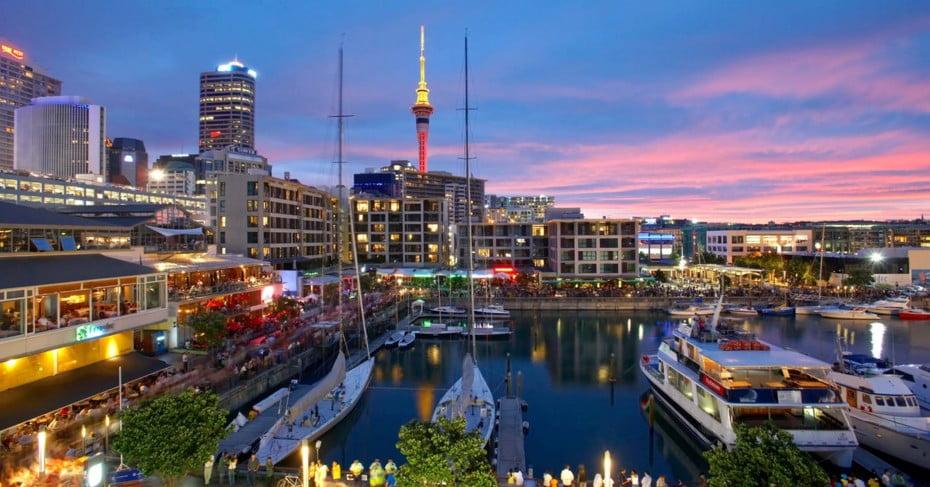 Auckland skyline at dusk.