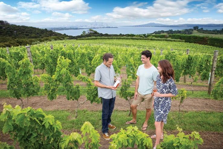 Wine tasting at Mudbrick Vineyard and Restaurant, Waiheke Island.