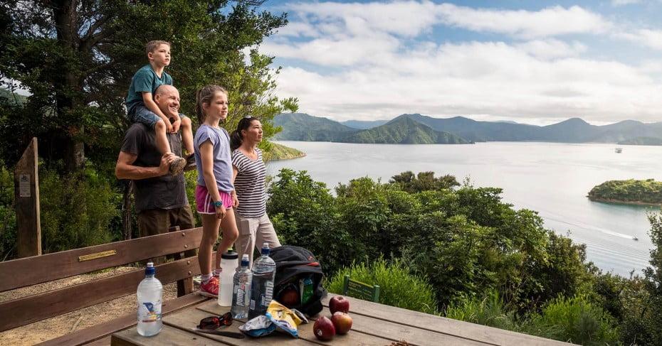 Family admiring the views at Kaipupu Wildlife Sanctuary.