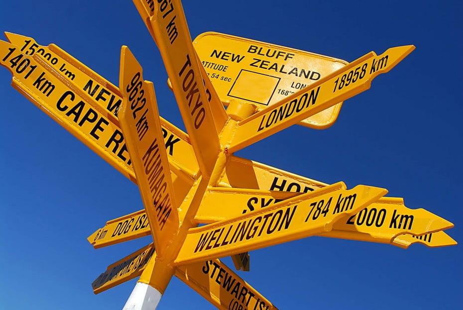 International signpost, Bluff, New Zealand.
