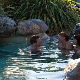 Friends at Hanmer Springs thermal pools, Canterbury, New Zealand.