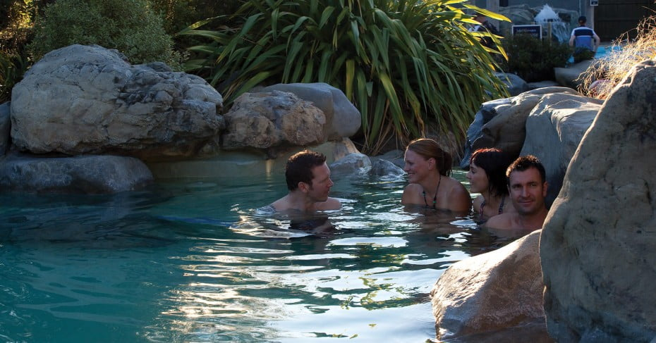 Friends at Hanmer Springs thermal pools, Canterbury, New Zealand.