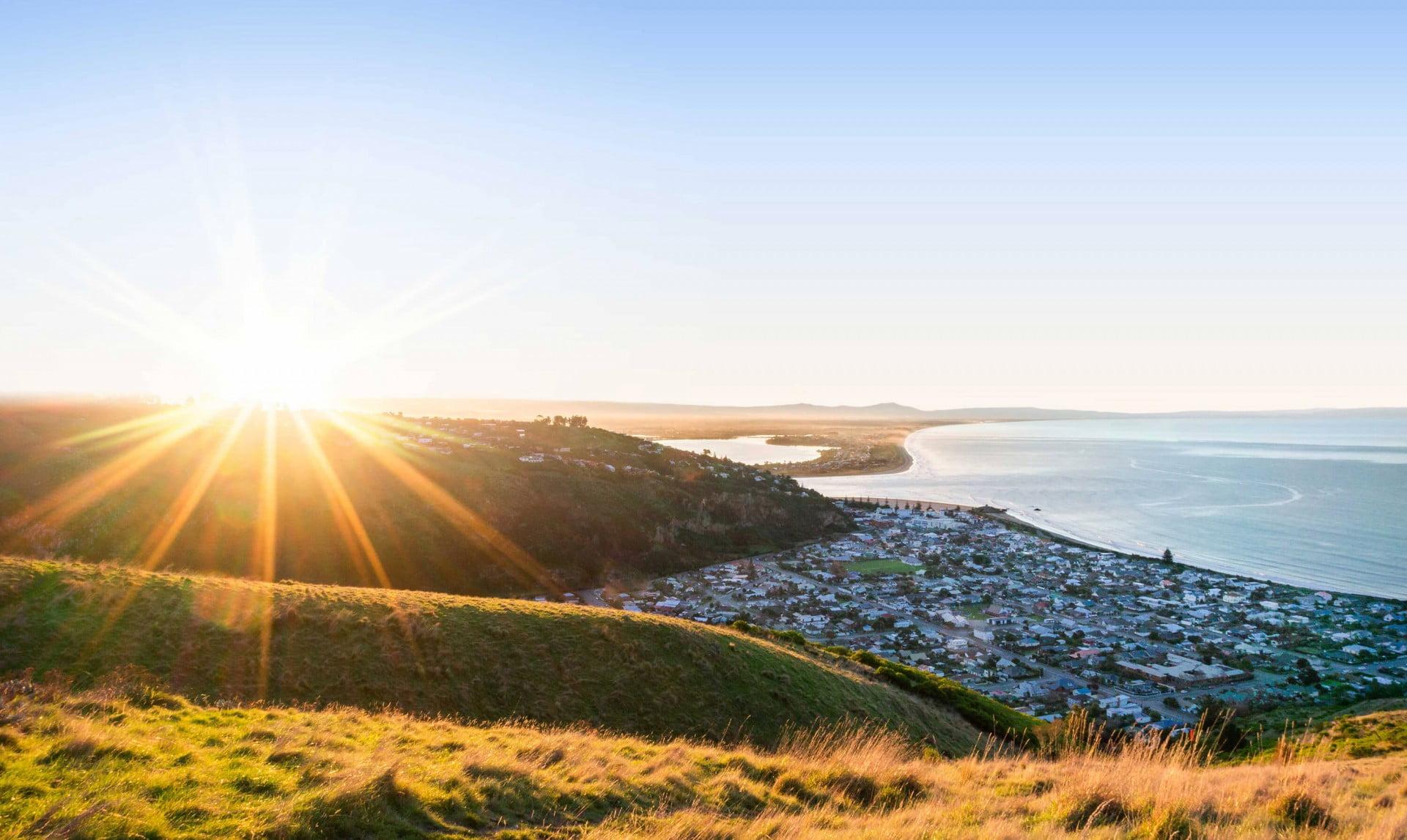 Sunset over Port Hills, Christchurch, New Zealand.