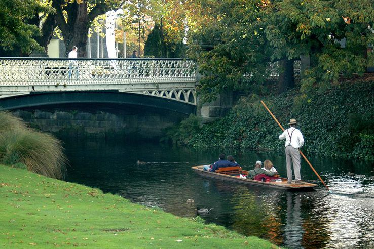 Punting on the Avon River, Christchurch, New Zealand.