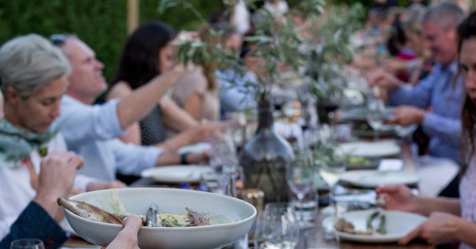 Banquet table, Food & Wine Classic, Craggy Range, Hawke's Bay, New Zealand.