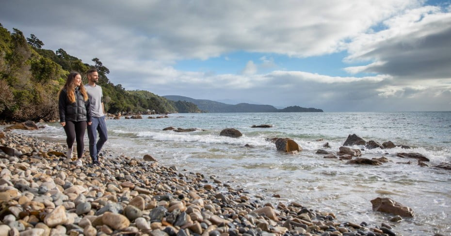 Stewart Island stony beach walk.
