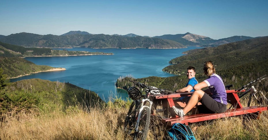 Cyclists taking a break on the Queen Charlotte Track.