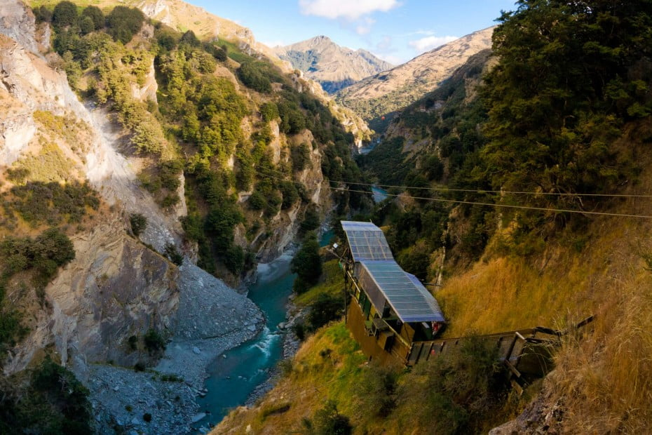 Canyon swing in New Zealand taking you high over the rocky terrain