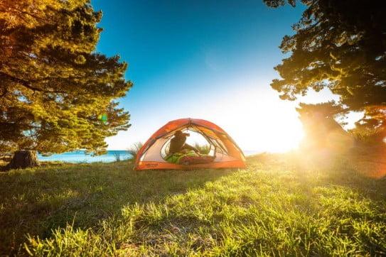 Camping at Sunrise in Abel Tasman.