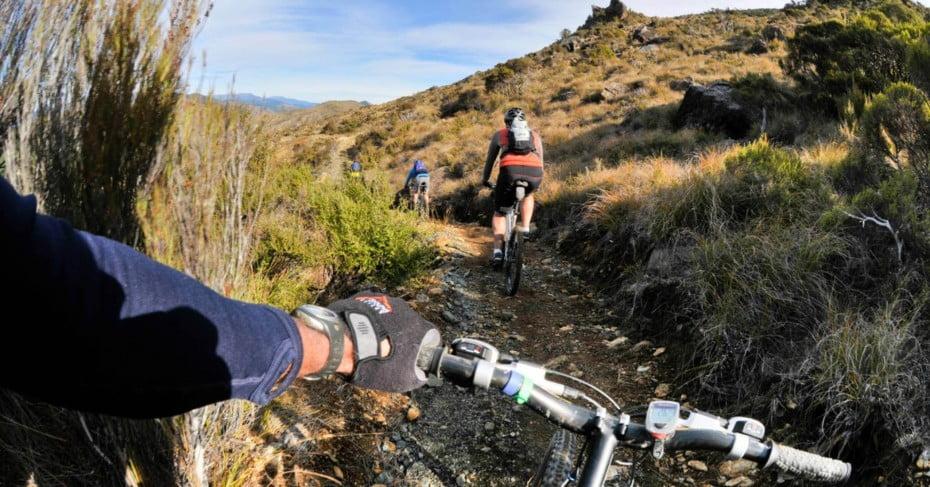 Mountainbikers on Dun Mountain Trail Action Shot.