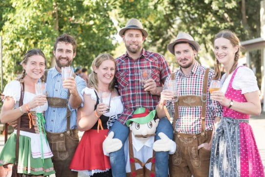 Friends in Bavarian Costumes at Marchfest.