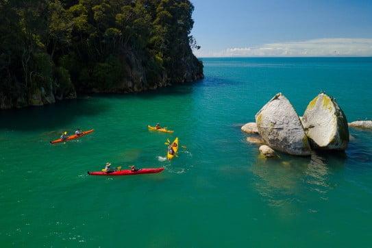 Kayaking at Split Apple Rock, Nelson.