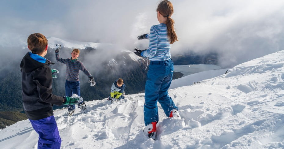 Snow fight at Nelson Lakes.