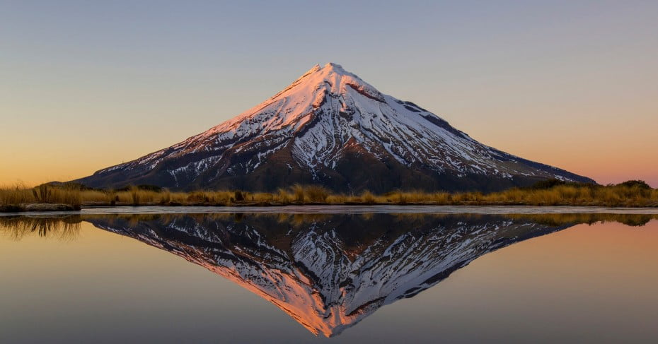 Mt Taranaki/Egmont reflected on Pouakai Tarns, New Plymouth/Taranaki, New Zealand.