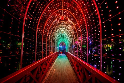Tunnel of lights, Poet's Bridge, New Plymouth/Taranaki, New Zealand.