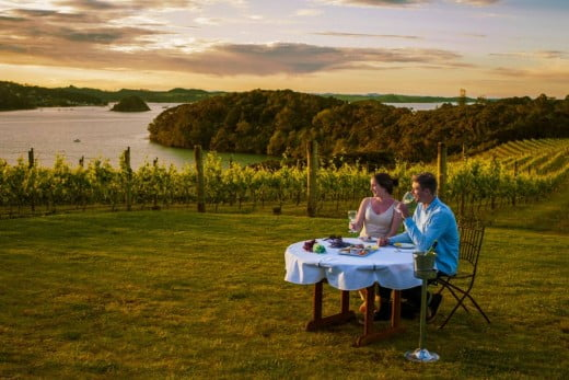 Couple dining at Omata Estate Vineyard, Northland.