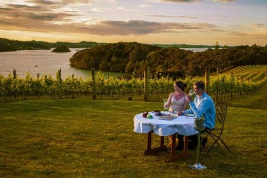 Couple dining at Omata Estate Vineyard, Northland.