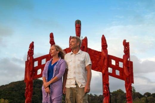 Couple at Te Tii Marae Waitangi Northland, New Zealand.