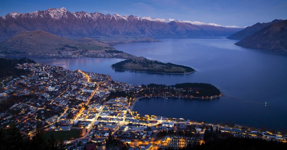 Iconic view of Queenstown at dusk from Bob's Peak, Queenstown, New Zealand.