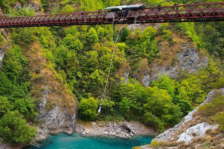 Bungy jumping from Kawarau Bridge, Queenstown.