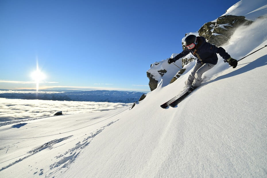 Woman skiing, Cardrona Alpine Resort, Queenstown, New Zealand.