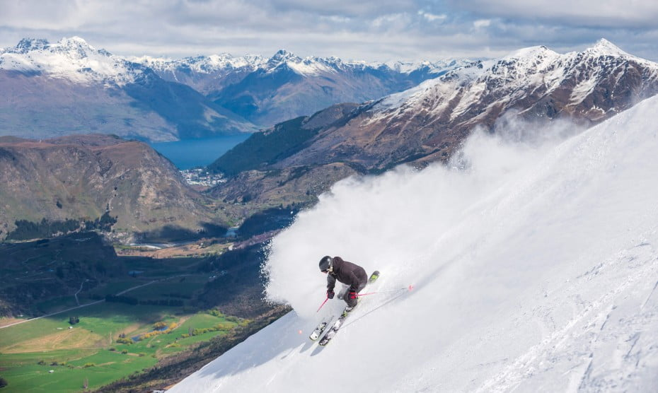 Skiing, Coronet Peak, Queenstown, New Zealand.