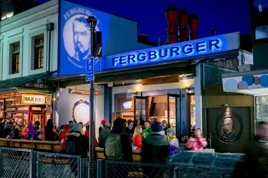 Fergburger at night, Queenstown.
