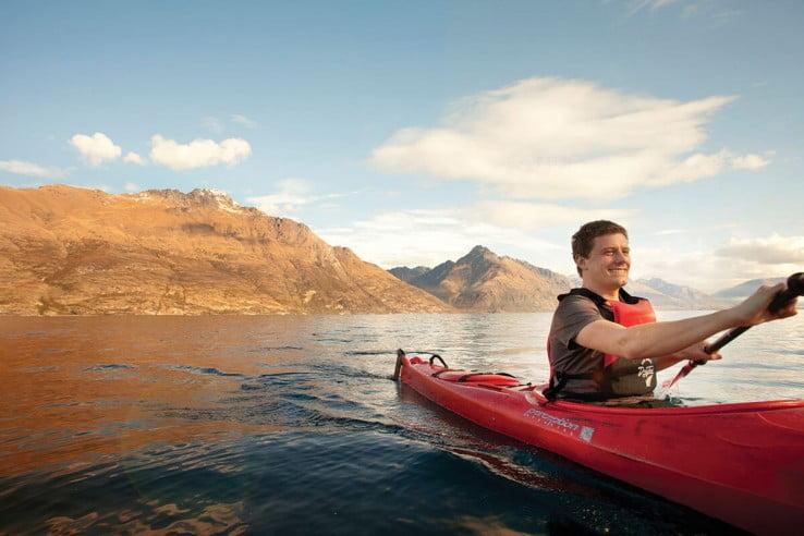 Kayaking on Lake Wakatipu, Queenstown, New Zealand.