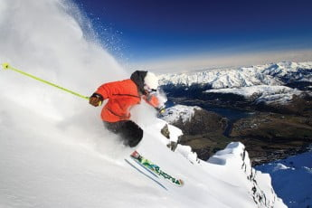 Skiing at the Remarkables, Queenstown, New Zealand.