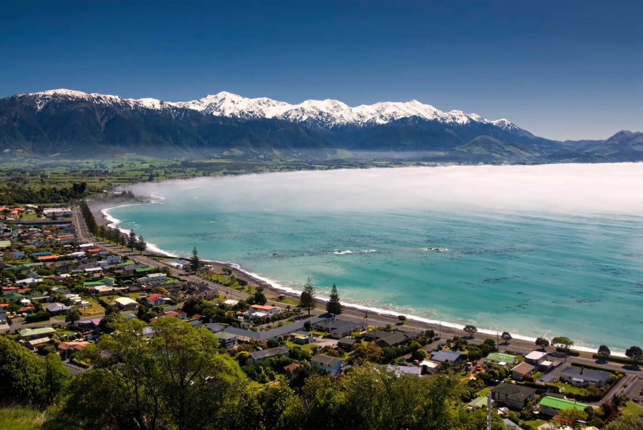 A South Island town in the Canterbury region where mountain meets the sea, Kaikoura has been dubbed 'the whale watching capital of New Zealand'.