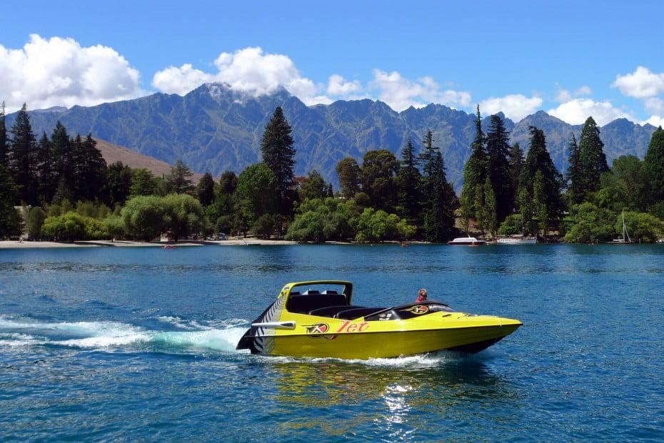 High speed jet boat on Lake Wakatipu on New Zealand's South Island