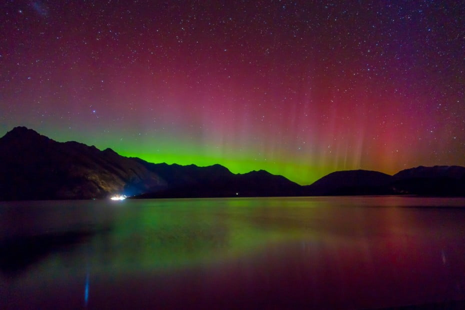 The Aurora Australis, the Southern hemisphere's sister to the famous Northern Lights, glows above New Zealand's Stewart Island.
