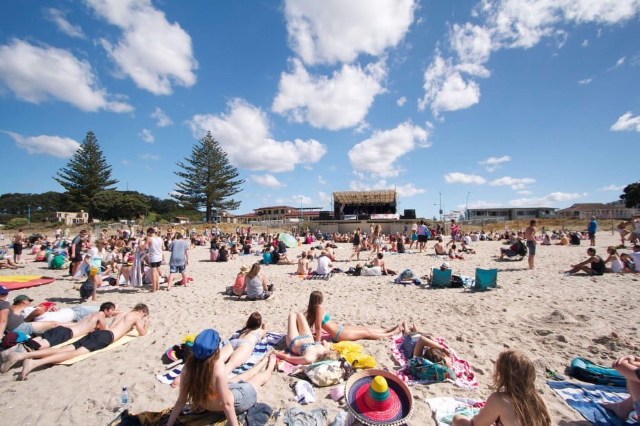 Beach goers, Tauranga, New Zealand.
