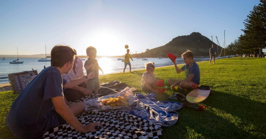 Family picnic in Tauranga, New Zealand.