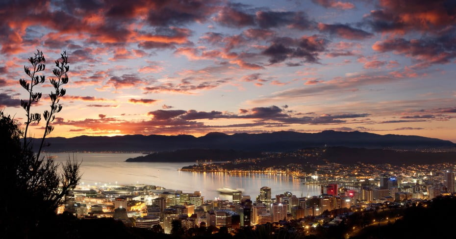 Wellington city and harbour at Dawn, New Zealand.