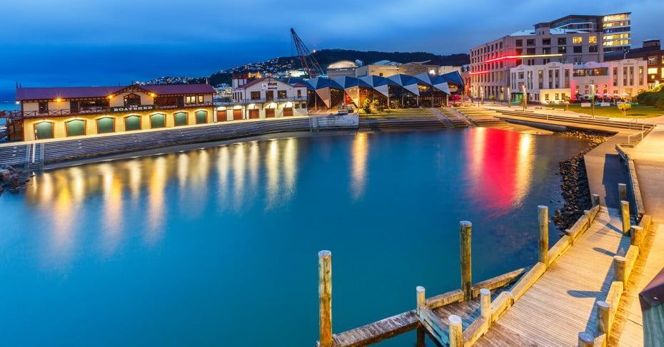 Wellington Harbour by Night, New Zealand