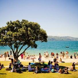 Oriental Bay beach, Wellington, New Zealand.