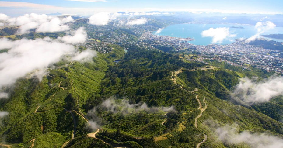 Zealandia from the air, Wellington, New Zealand.