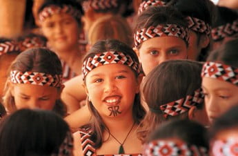 Young girls celebrating Maori culture.