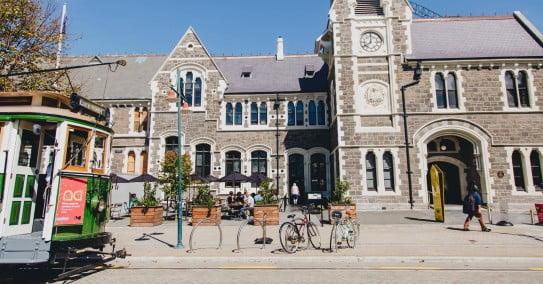 Tram passing Arts Centre, Christchurch.