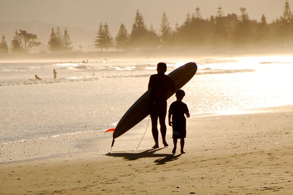 Waikanae beach surfer, Gisborne NZ