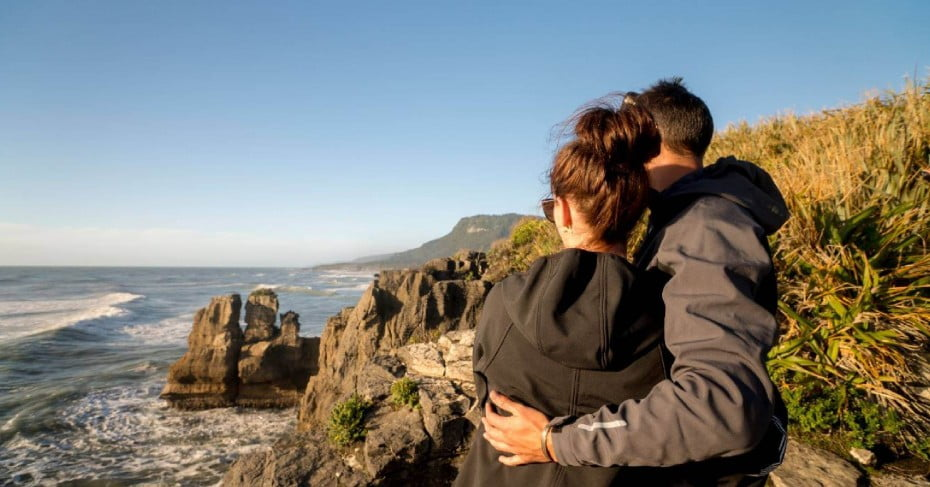 Couple at Punakaiki Pancake Rocks, West Coast, NZ