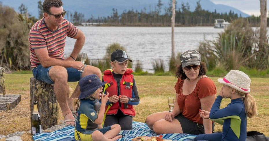 Family picnic at Lake Brunner, West Coast,NZ