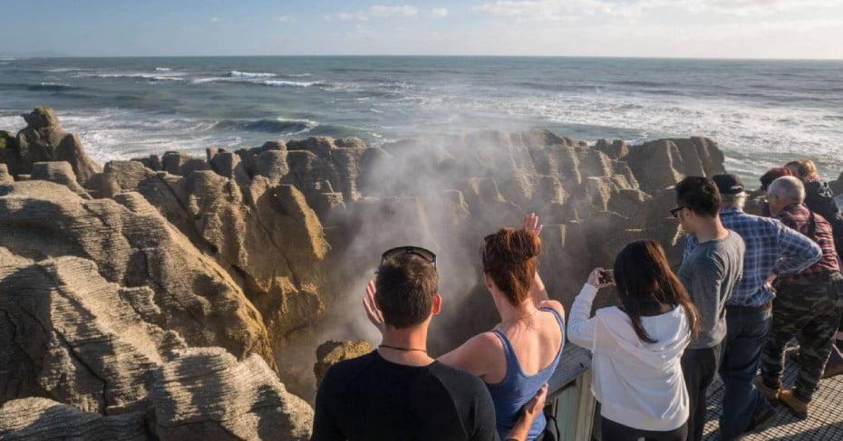 Tourists at Punakaiki Pancake Rocks, West Coast, NZ