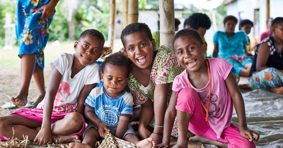 Smiling faces from children of Fiji.