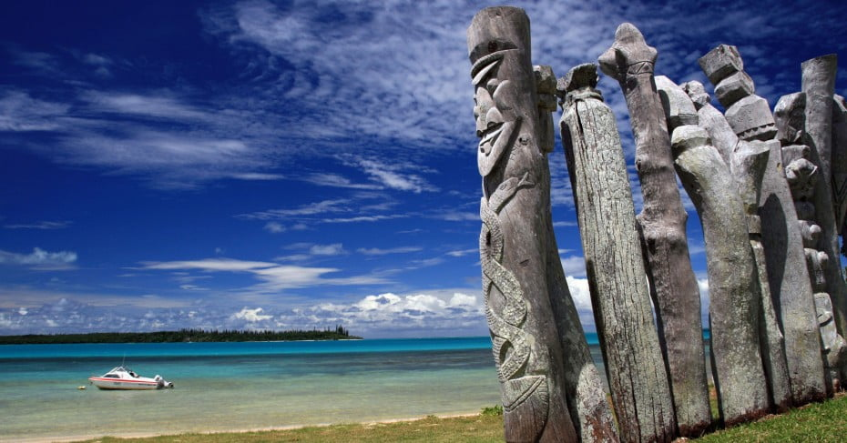 Totems on Isle of Pines, New Caledonia, Pacific Islands.