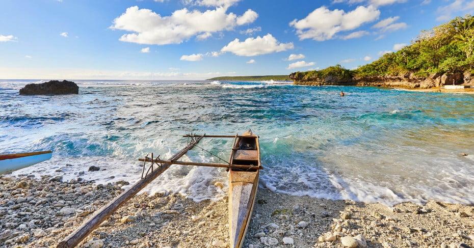 Traditional vaka, Avatele Beach, Niue.